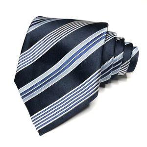 Ermenegildo Zegna Diagonal Stripe Repp Silk Tie